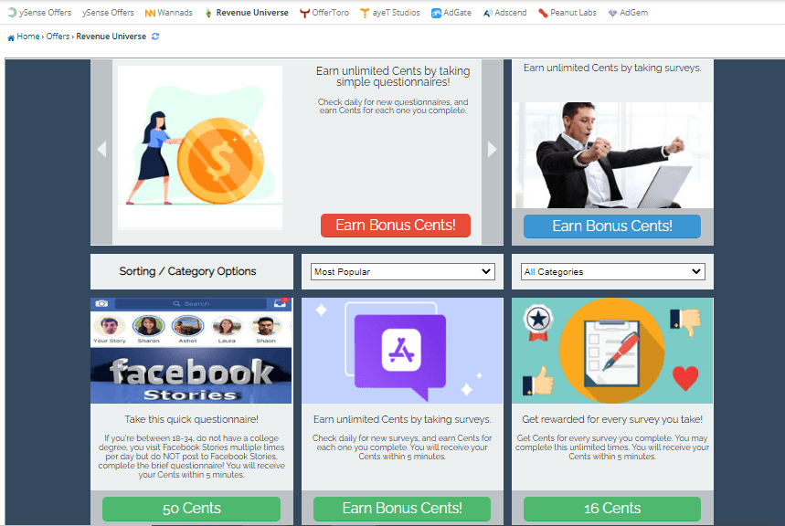 earn from offers in ysense