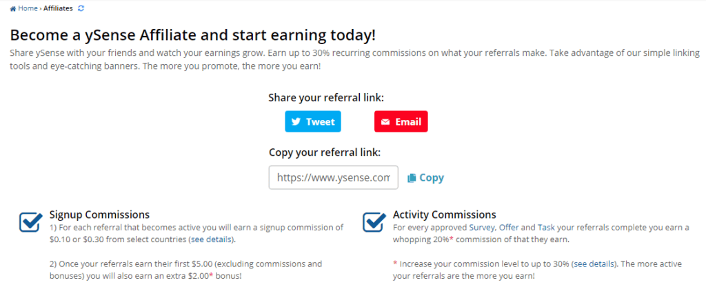 refer and earn on ysense